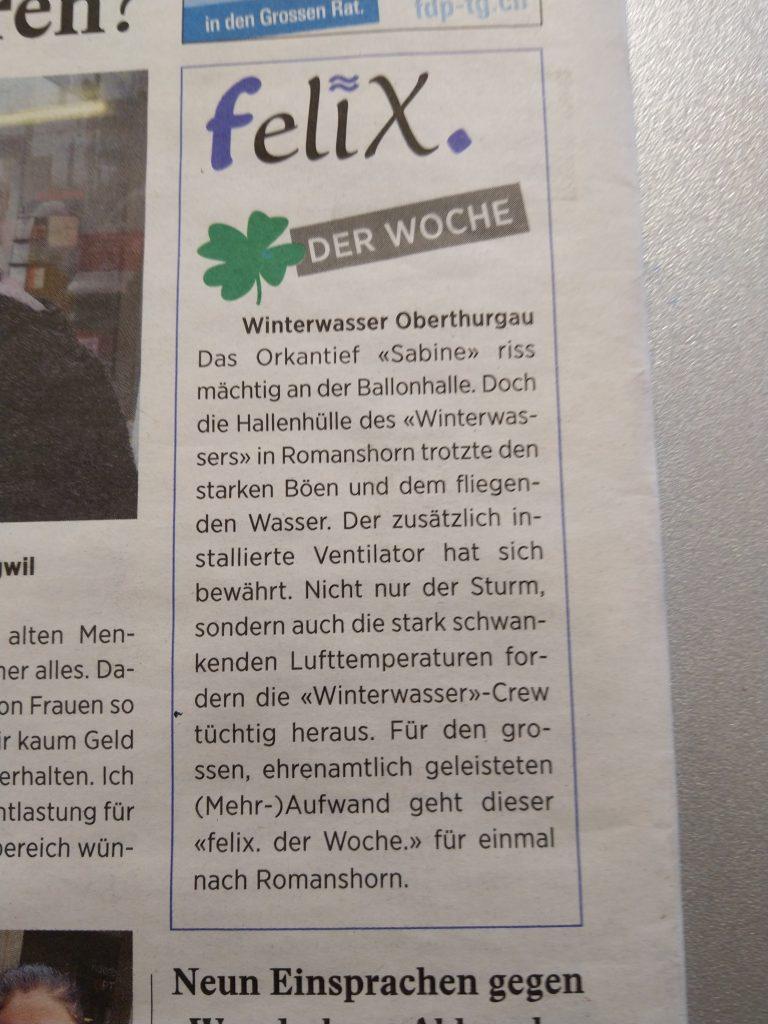 """Winterwasser in der Arboner Wochenzeitung """"felix"""""""